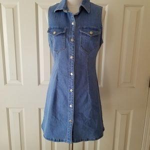 Bardot Denim Button Down Sleeveless Dress Shirt 6